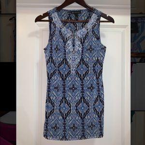 Blue Pattern Sequin Top